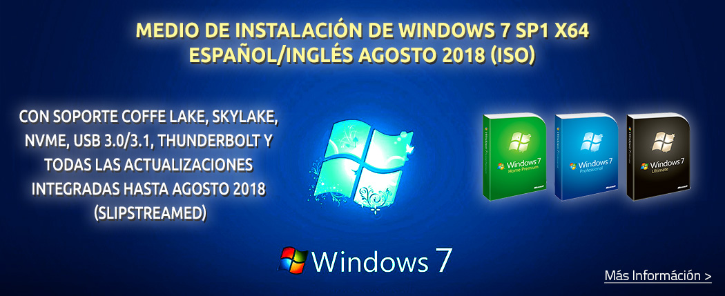 Windows 7 ISO Agosto 2018 USB 3, NVMe, Slipstrimed