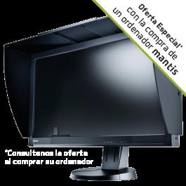 Monitor Profesional LED de 24 Pulgadas EIZO ColorEdge CG247 con visera y calibrador integrado.